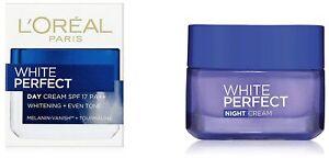 L'Oreal Paris White Perfect Night & Day Cream SPF 17 PA++ 50 ml Each - F/S