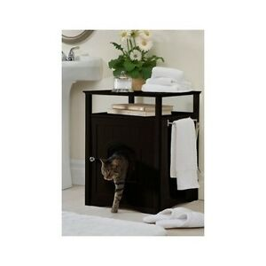 Image Is Loading Hidden Litter Box Cat Furniture Espresso Side End