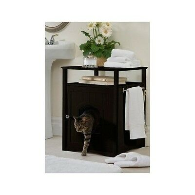 Hidden Cat Litter Box Furniture Espresso Side End Table Bathroom