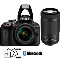 Refurb Nikon D3400 24MP FHD DSLR Camera w/18-55 & 70-300mm Lens