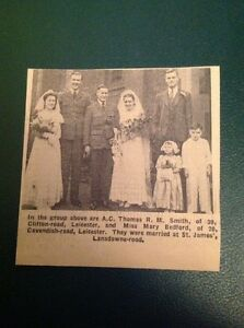 Ephemera 1942 Leicester Picture A C Thomas R M Smith Mary Bedford Wedding ca2 - Leicester, United Kingdom - Ephemera 1942 Leicester Picture A C Thomas R M Smith Mary Bedford Wedding ca2 - Leicester, United Kingdom