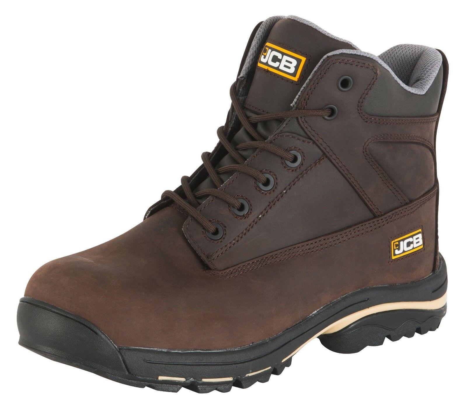 JCB  Workmax Dark Braun Leder  JCB Uomo Work Safety Stiefel Steel Toe Cap Mid Sole New 0a0ff0