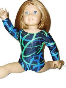 Leotard-fits-American-Girl-Dolls-Gymnastics-18-034-Doll-Clothes-Sparkly-Blue-Swirl