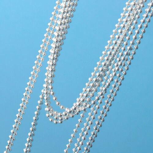 """Wholesale 10pcs 925 Sterling Silver Plt 1.5mm Ball Beads Chain Necklace 16/""""-30/"""""""
