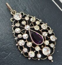 Victorian SOLID SILVER Diamond & Amethyst PASTE Sparkly Drop Antique PENDANT