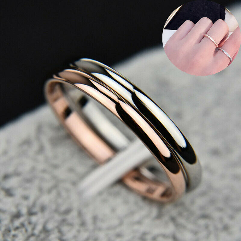 HK- Simple Titanium Steel Ring Wedding Band Women Men Couple Jewelry Gift Size 3 Fashion Jewelry
