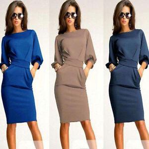 Newest-Womens-Working-Half-Sleeve-O-Neck-Sheath-Casual-Office-Slim-Dress