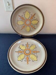 SET OF 4 Mid Century Modern Hearthside FLEUR DE LIS Stoneware Dinner Plates