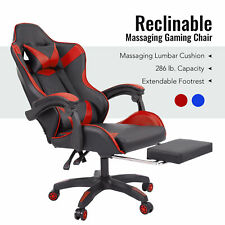High Back Ergonomic Gamer Chair With Lumbar Massage Reclinable Backrest Red