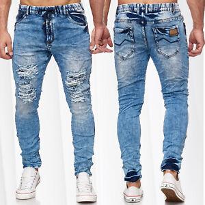 Herren-Jogging-Jeans-Destroyed-Denim-Hose-Harem-Bleached-Ripped-Used-Jeansjogger