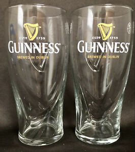 NWT! GUINNESS EMBOSSED PINT GLASSES 2 PACK WITH HARP 20 oz OFFICIALLY LICENSED