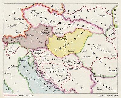 Cartina 1914.C2928 Impero Austro Ungarico Confini Del 1914 Mappa D Epoca 1943 Old Map Ebay