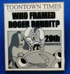 TOONTOWN-TIMES-20th-Anniversary-Who-Framed-ROGER-amp-JESSICA-Rabbit-Disneyland-Pin