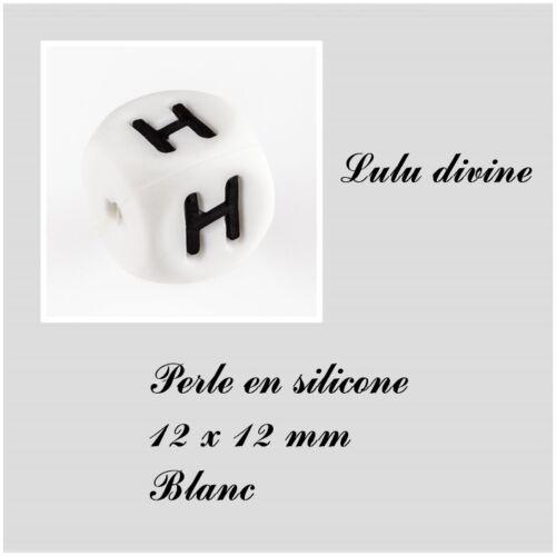Lot de 3 perles Blanc Perle en silicone alphabétique de 12 x 12 mm Lettre H