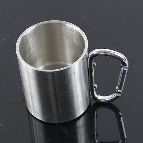 Stainless Steel Coffee Mug Camp Camping Cup Carabiner Hook Double Wall