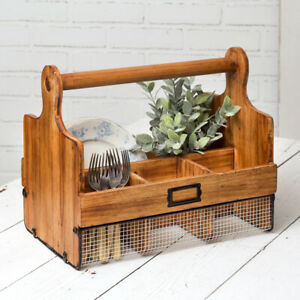 Farmhouse Decor Wood And Wire Cutting Board Caddy Ebay