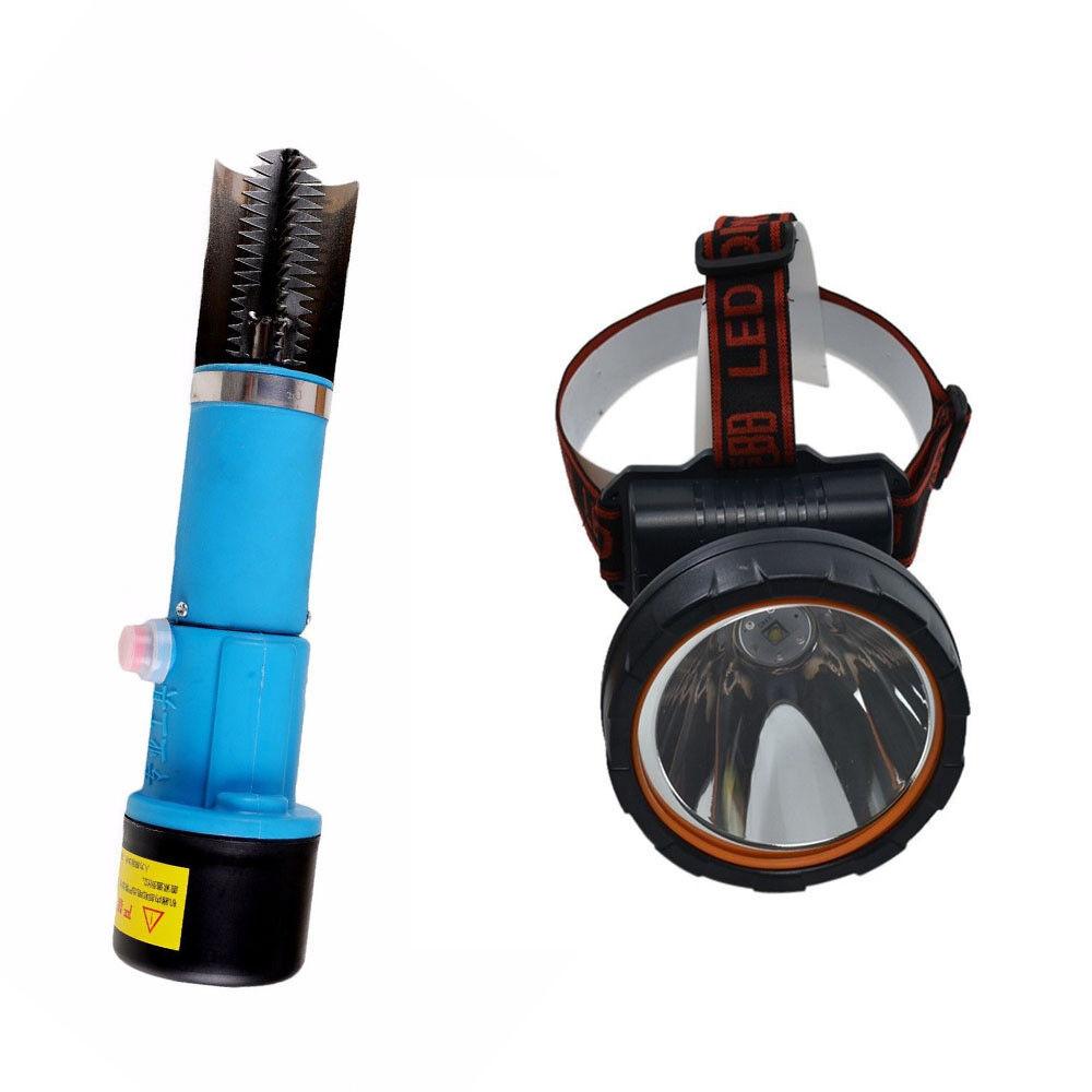 Escala de peces eléctrico Removedor Raspador Limpiador + cabeza de la Linterna escalador Lámpara De Pesca