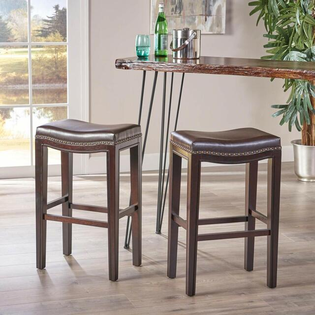 Admirable Set Of 2 Bar Stool Brown 30 In Faux Leather Backless Saddle Seat Hardwood Frame Cjindustries Chair Design For Home Cjindustriesco
