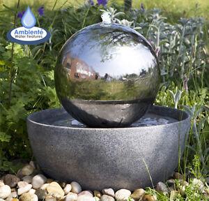 chargement de limage en cours fontaine boule sphere eclipse acier inoxydable jardin terrasse - Fontaine De Jardin Moderne