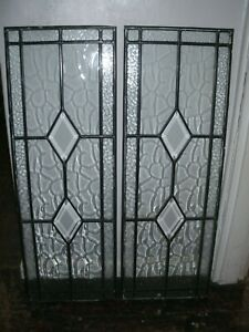 Details About Window Accessories 2 X New Identical Patterned Leaded Glass Panels 35x100 Cms