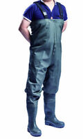 100% Waterproof Pvc Chest Waders Fly Coarse Fishing Muck Wader Boots - Uk Seller