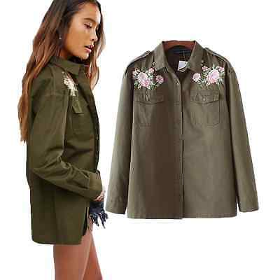 New Fashion Embroidery Army Green Shirt Women Blouses Casual Ladies Jacket Tops