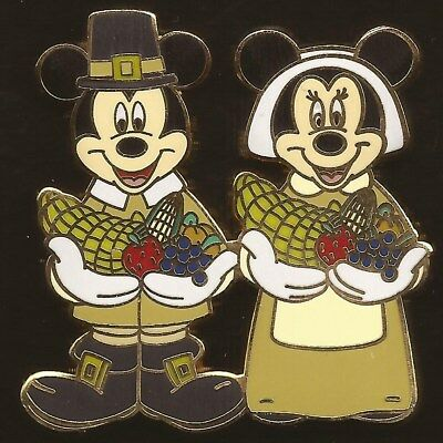 DISNEY PIN Mickey /& Minnie Thanksgiving Pilgrims