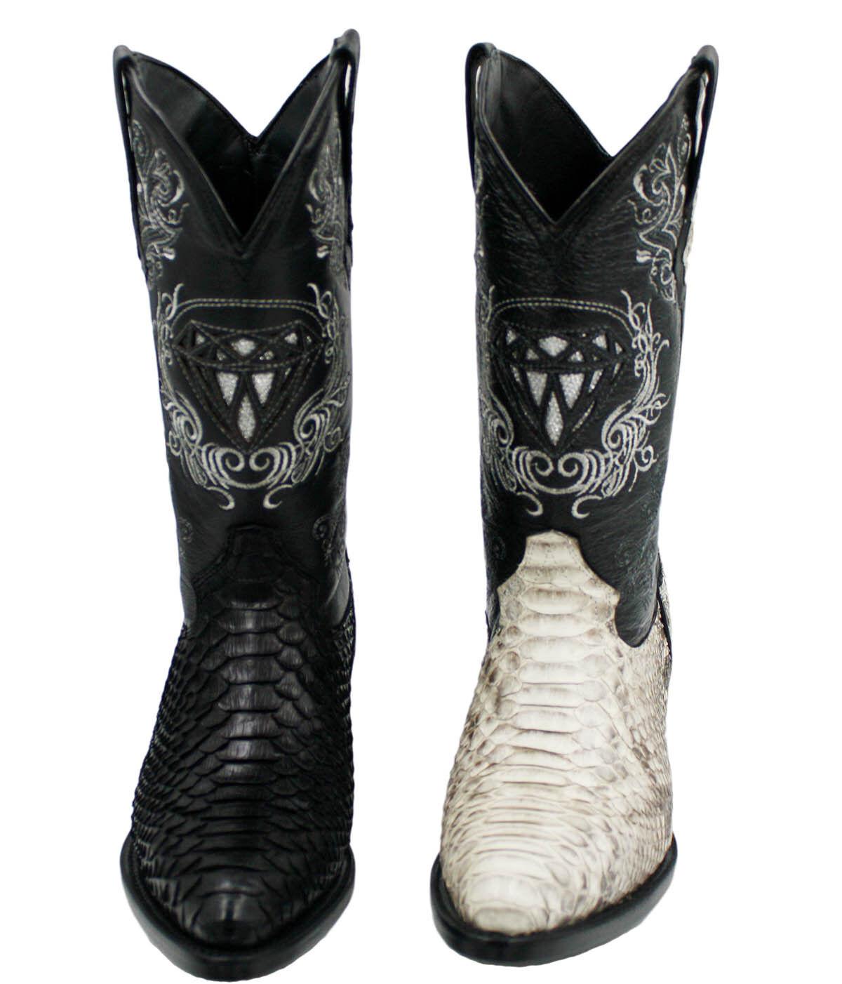 Men's genuine python snake skin cowboy boots western exotic biker J Toe