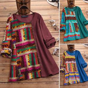 ZANZEA-Femme-Manche-Longue-Couture-en-Impression-Col-Rond-Haut-Shirt-Tops-Plus