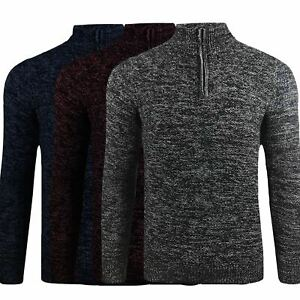 Ex-Store-Mens-Zip-Up-Quality-100-Cotton-Funnel-Neck-Jumper-Knitted-Winter-M-3XL