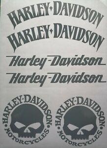 Harley-Davidson-3er-SET-Logo-Aufkleber-Div-Farben-Top-Neu