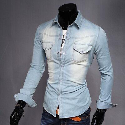 New Men/'s Washed Denim Jean Shirt Long Sleeve Casual Button Up Shirt Cotton Tops