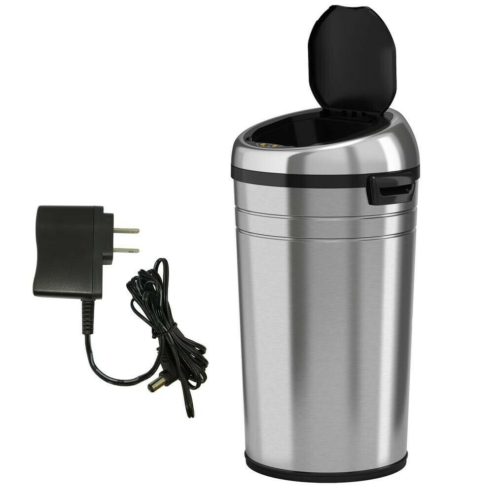 ITouchless 23 Gal Stainless Steel Motion Sensing Touchless Trash Can Round Large