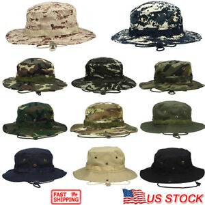 Bucket-Hat-Boonie-Hunting-Fishing-Outdoor-Cap-Wide-Brim-Military-Unisex-Sun-Camo