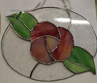 Oval Pink Rose Stained Glass Window Hanging