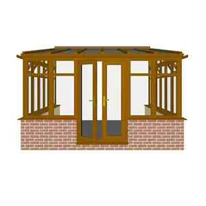 3 0m X 3 5m Light Oak Lean To Eurocel Conservatory