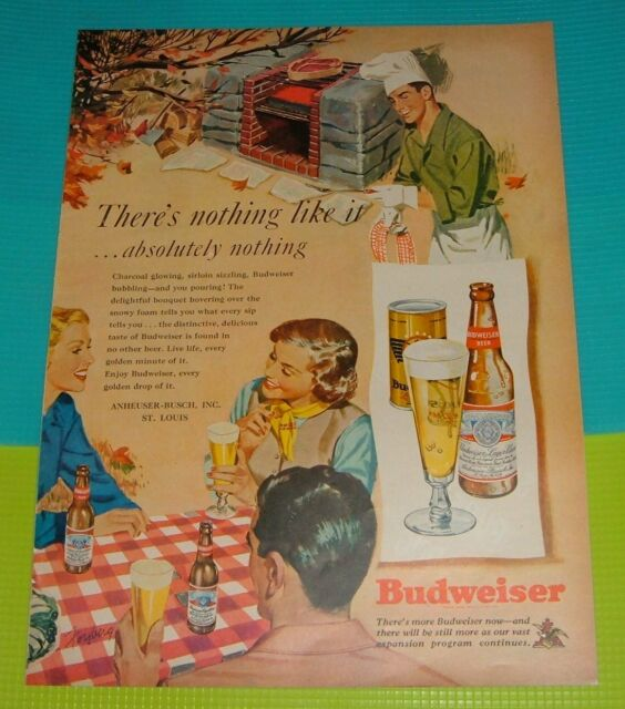1949 PRINT AD~BUDWEISER BEER Backyard Barbeque Sirloin