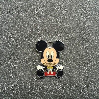20pcs cartoon Mickey Minnie Metal Charm Pendant DIY Necklace Jewelry Making