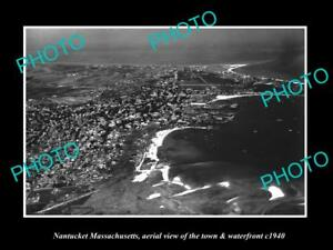OLD-LARGE-HISTORIC-PHOTO-OF-NANTUCKET-MASSACHUSETTS-AERIAL-VIEW-OF-TOWN-c1940-1