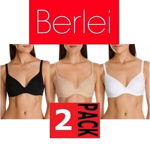 edc79e0f10498 2 x BERLEI BARELY THERE CONTOUR TSHIRT BRA Black White Nude Y250N ...