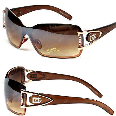 DG Eyewear Women Rimless Shades Shield Wrap Oversized Sunglasses Brown 857