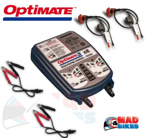 NEW OPTIMATE 3 DUAL BANK MOTORCYCLE BATTERY CHARGER & OPTIMISER FULLY AUTOMATIC