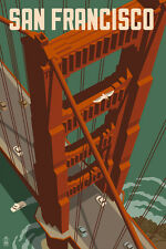 San Francisco GOLDEN GATE BRIDGE 7 X 10 Wood Sign California CA MADE IN USA