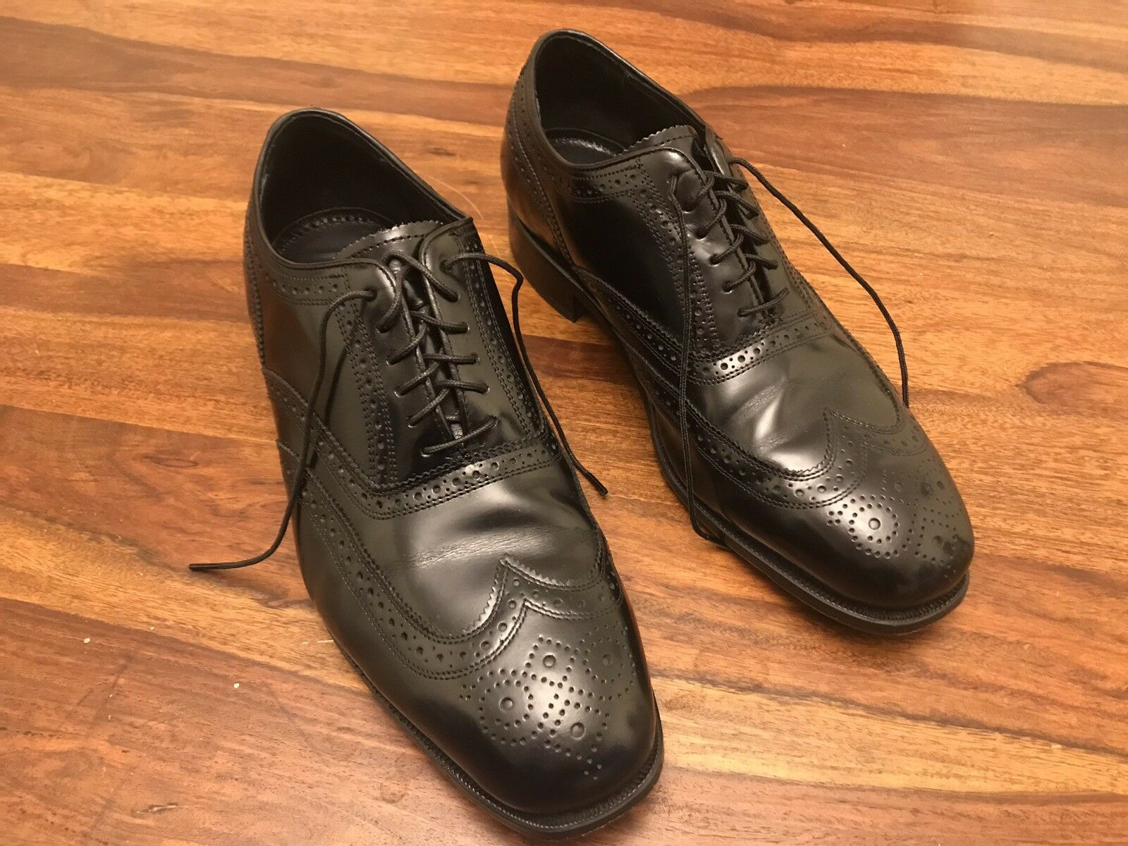Men's Florsheim shoes Black Brogues Oxfords  Leather Made In India UK10
