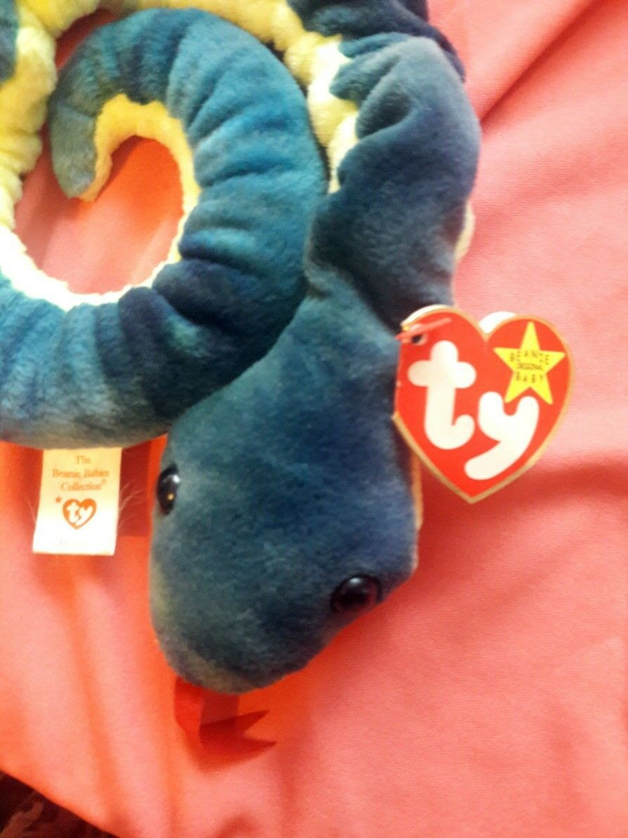 Ty Beanie Baby Hissy The Snake (1997) with Errors, Excellent Condition