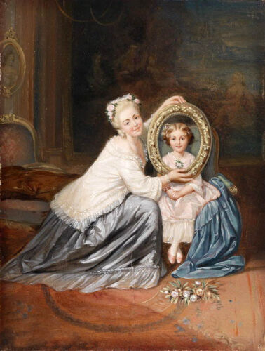 Oil painting portraits nice young mother with her little daughter girl seated