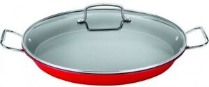 Paella-Pan-Metallic-Red-Nonstick-Stainless-Steel-Handle-With-Glass-Lid-Oven-Safe