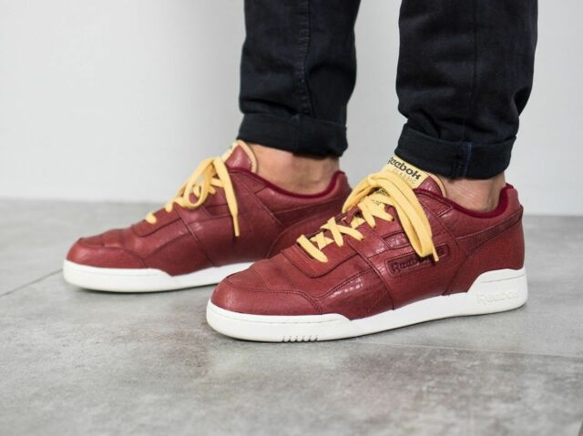 Mens Reebok Workout Plus Boxing Trainers Shoes Leather Maroon BD3172 NEW 2477b2902