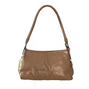 287874f293 Image is loading Etienne-Aigner-Handbag-Leather-Camel-Brown-Embossed-Logo-