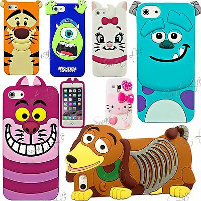 3D Cartoon Silicone Rubber Back Case Cover For Apple iPhone